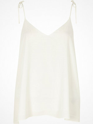 River Island White bow shoulder cami top
