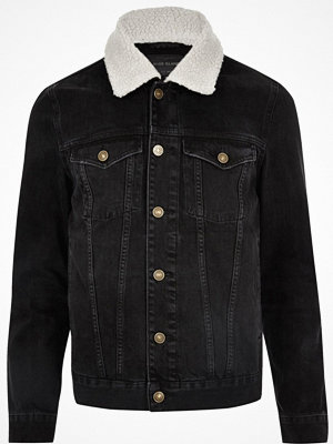 River Island Black washed borg collar denim jacket