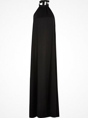 River Island Black silky halter neck maxi dress