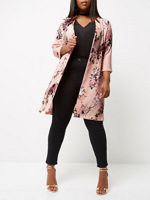 River Island Plus pink floral print duster coat