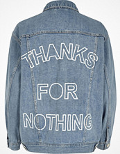 River Island Light blue slogan back print denim jacket