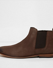 Boots & kängor - River Island Dark brown leather chelsea boots