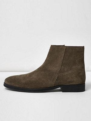 Boots & kängor - River Island Stone suede zip boots