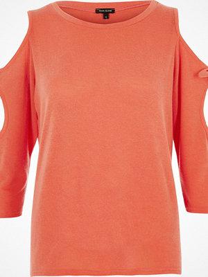 River Island River Island Womens Orange tie sleeve cold shoulder top