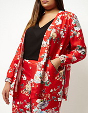 River Island Plus red floral print zip detail jacket