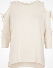 River Island White tie sleeve cut out top