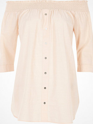 River Island Light Pink chambray bardot button front top