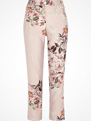 River Island mönstrade byxor River Island Womens Pink floral print tapered trousers