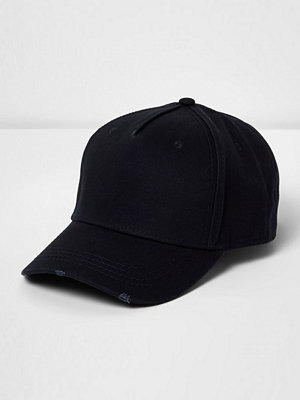 Mössor - River Island Navy distressed baseball cap