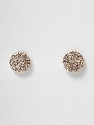 River Island örhängen Gold tone diamante pave circle stud earrings