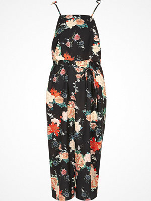 River Island Black floral frill tie strap cami slip dress