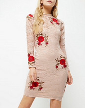 River Island Petite pink floral embroidered bodycon dress
