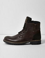 Boots & kängor - River Island Dark brown leather military boots