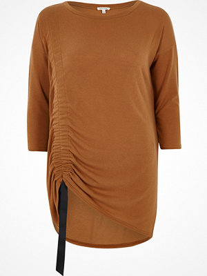River Island Camel ruched drawstring longline top