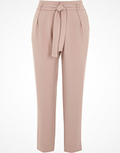 River Island Light pink tie waist tapered trousers