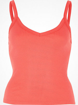 River Island Pink coral ribbed cami top