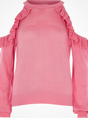 River Island Pink cold shoulder frill knit jumper