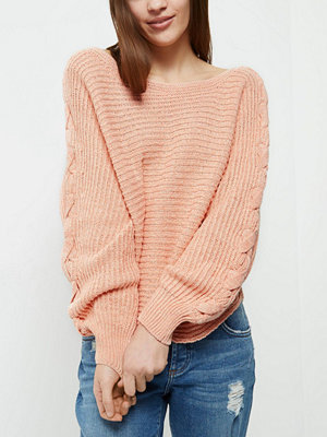 River Island Petite coral ribbed knit cross sleeve jumper