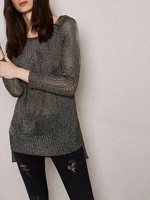 River Island RI Studio khaki metallic ribbed knit jumper