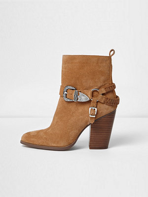 Boots & kängor - River Island Brown suede western buckle boots