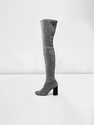 Boots & kängor - River Island Silver glitter over-the-knee stretch boots