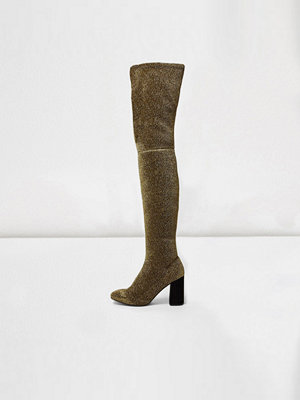 Boots & kängor - River Island Gold glitter over-the-knee stretch boots