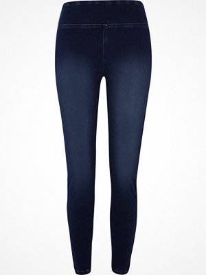Leggings & tights - River Island Dark Blue faded denim leggings