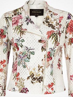 River Island White floral print lace biker jacket