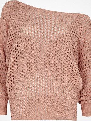 River Island Pink mesh knit off shoulder batwing jumper
