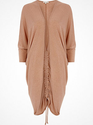 Cardigans - River Island Light brown ruched back longline cardigan