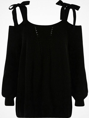 River Island Black tie shoulder knit jumper