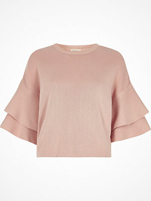 Tröjor - River Island River Island Womens Light Pink knit double frill sleeve top