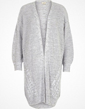 River Island Grey cable knit detail longline cardigan