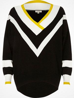 River Island Black knit chevron V neck jumper