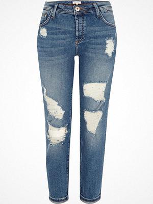 River Island Mid Blue ripped boyfriend jeans