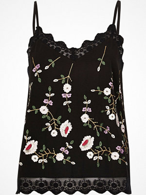 River Island Black floral embroidered mesh hem cami top