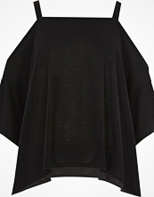 River Island Black knit cold shoulder hanky hem top