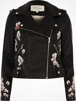 River Island Black faux leather floral biker jacket