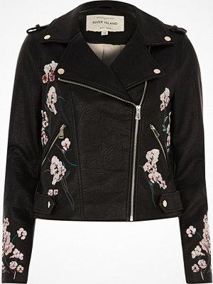 River Island Black faux leather floral biker jacket