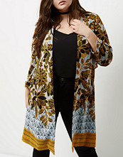 River Island Plus yellow floral print tie back duster coat