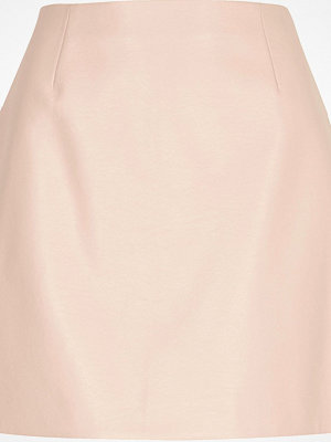 River Island Light Pink faux leather skirt