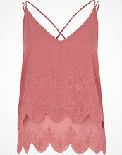 River Island Pink embroidered cross back cami top