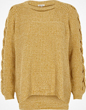 River Island Yellow ribbed knit cut out jumper
