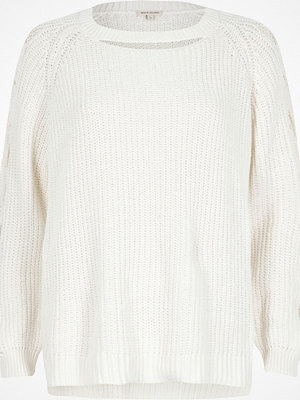 River Island White ribbed knit cut out jumper