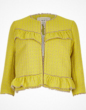 River Island Yellow frill tweed jacket