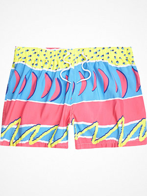 Badkläder - River Island Pink retro abstract print swim shorts