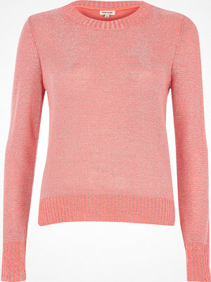 River Island Coral pink metallic knit split back jumper
