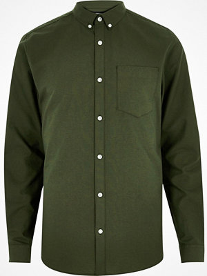 Skjortor - River Island Big and Tall Khaki green Oxford shirt