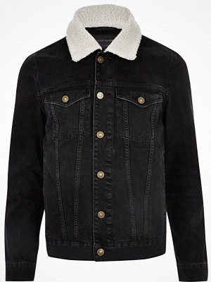 River Island Big and Tall Black borg collar denim jacket
