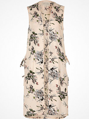 River Island Cream floral print sleeveless duster jacket